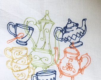 Coffee or Tea? design embroidered towel
