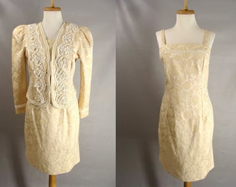 vintage 90s Beige Brocade Dress Suit. Mother of the Bride Dress. Sexy 2pc Dress w/ Beaded Pearl Jacket. OR Customizable Zombie Costume. M 10