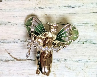 Christmas Angel Pin Brooch Vintage Enamel Green Pink Clear Rhinestones Gold Tone