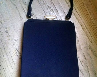 Navy Blue Purse Handbag Pearlized Closure Vintage Wedding Accessories Mid Century Waldorf 1950s Gift Guide Women