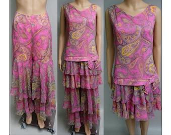 Vintage 1960s Dress | Paisley Print Dress | Pink Dress | 60s Dress | Designer Dress | 60s Mod Dress | Matching  Palazzo Pants |