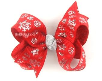 """Snowflake hair bow, 3"""" 3 inch hair bow, winter hair bows, red hair bow, silver hair bow, baby hair bow, baby hair bows, girls hair bows clip"""