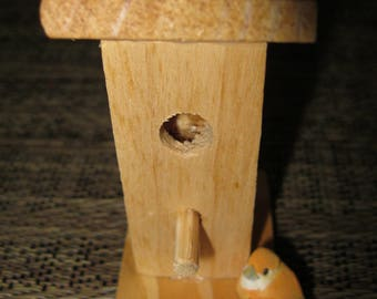 Miniature Unfinished Wood Bird House With Bird