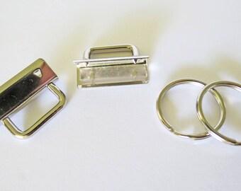 25 Nickel Plated Finish 1.25 inch Key Fob Hardware Kit Set (32mm)