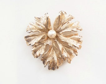 1960s Napier Brooch in Gold Plated Sterling Silver: Real Pearl on Frilly Geranium Leaf Design Midcentury Pin Signed ©NAPIER in Block Letters