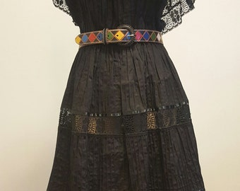 RESERVED for Laura SALE Vintage Fiesta Senorita Dress. Black Pintuck Cotton. Crocheted Lace. Tiered. Med to Large