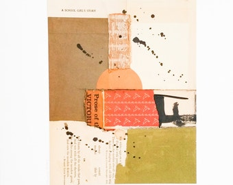 Original paper collage, mixed media collage, abstract paper collage