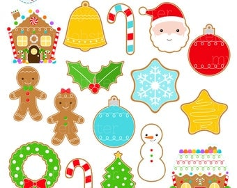 Christmas Cookies Clipart Set - clip art set of gingerbread, christmas cookies, santa - personal use, small commercial use, instant download