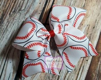 Baseball Cheer Bow, White Cheer Bow; Hair Bow, Baseball Sister, Cheer Bows, Hairbow, Bow, Hairbows, Hair-Bow, Hair bow, Baseball Stiches