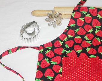 Strawberries Child Apron with Red Polka Dot pocket