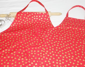 Red and Gold Hearts Mother Daughter Aprons