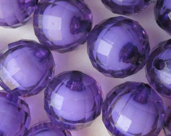 20mm Purple and White Round Faceted Acrylic Chunky Gumball Beads 16 Beads