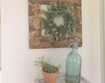 wreath sign, rustic frame, eucalyptus wreath sign, farmhouse sign, entryway sign, fixer upper decor, gallery wall sign, farmhouse wreath