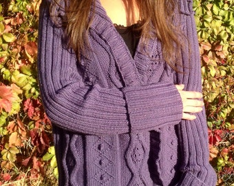 Hand Knit Cardigan, Button Up Cardigan Cable Knit Sweater Knit Cardigan