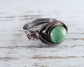 Wire Wrapped Ring African Turquoise Ring Copper Ring Dragons Eye Ring Wire Wrapped Jewelry Copper Jewelry