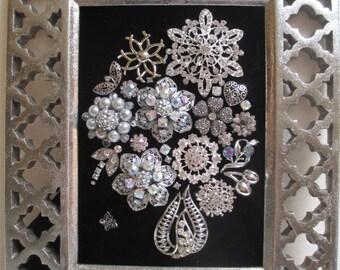 Jeweled Framed Jewelry Flower Bouquet Silver Black Vintage