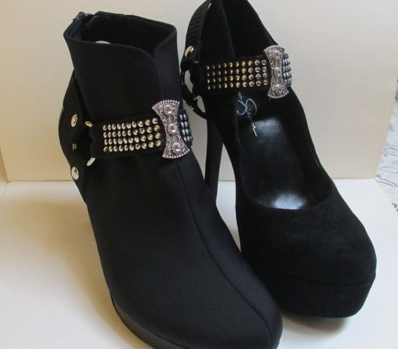 boot straps shoe jewelry black silver interchangeable