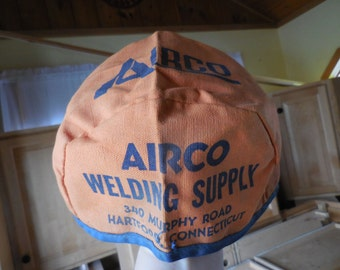 Vintage 1950s to 1960s Orange/Blue Airco Welding Supply Hat/Cap Hartford Connecticut Canvas Material Advertising Size Medium