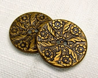 """In a Vintage Garden: 1-1/8"""" (28mm) Antiqued Metal Buttons - Set of 2 Large Vintage Matching Buttons"""