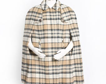 Vintage 60s CAPE - Plaid Wool Beige Brown Blanket Lined Mod Jacket 1960s - Large / Medium