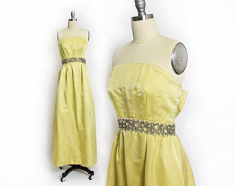 Vintage 1960s RAPPI Gown - 60s Neon Yellow Satin Beaded Strapless Dress  - Small