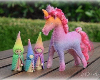 Waldorf Steiner inspired Unicorn toy and 3 felt gnomes-Hand dyed wool felt toys-imaginative toys-Custom order for YOU by Debs Steiner Dol