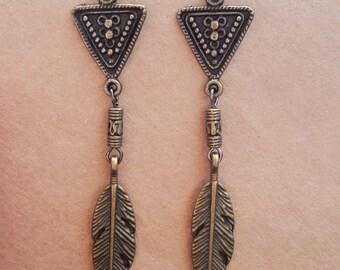 Bronze feather tribal earrings, Geometric earrings, Rustic earrings, Antique brass