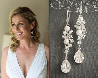 Swarovski Crystal Bridal Earrings, Pearl Cluster Chandelier Wedding Earrings, Rhinestone Leaf Teardrop Dangle Statement Earrings, CORALIE