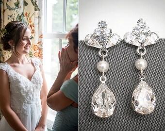 CECILIA, Swarovski Bridal Earrings, Vintage Inspired Teardrop Rhinestone Chandelier Earrings, Wedding Stud Earrings, Silver Bridal Jewelry