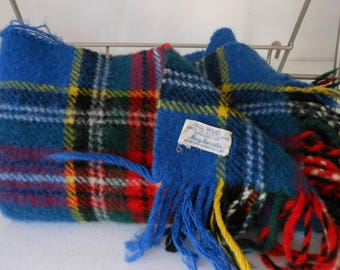 Small Wool Blanket MACY'S Scotland Made Throw Blue Red Yellow