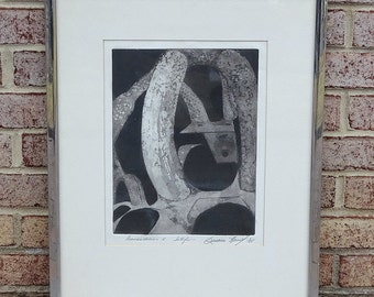 Mid Century Black and Gray Abstract Shapes Etching by artist Susana Herreif with Chrome Metal Frame