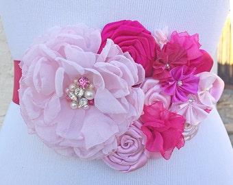 Pink, Fuchsia Fabric Flowers Sash for Bride - Swarovski Crystal and Pearls Embellished Belt for Maid of Honor, Prom Sash, Wedding Belt