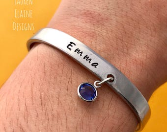 Custom Name with Birthstone Hand Stamped Aluminum Bracelet