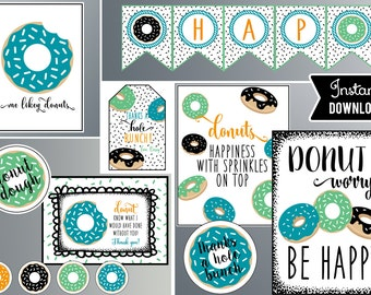 Donut Party Prints,  Teal Green and Black, Donut Party, Instant Download