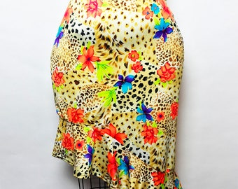 Pencil Skirt with Peplum Spandex Printed Large to X-Large
