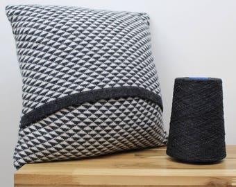 Knitted lambswool cushion charcoal and cream geometric triangle pattern - handmade in the UK