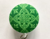 Celtic Badge Reel - Irish Badge Holder - St. Patrick's Day Badge Holder - Retractable ID Badge - Name Badge - Nurse Gift -Fabric Badge Reel