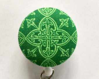 Celtic Badge Reel - Irish Badge Holder - St. Patricks Day - Badge Holder - Retractable ID Badge - Name Badge - Nurse Gift -Fabric Badge Reel