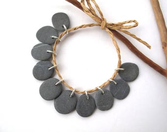 Stone Beads Top Drilled Rock Beads Diy Jewelry Making Mediterranean Beach Stone Natural Stone Beads Rock Pairs MISTY GRAY CHARMS 17-19 mm