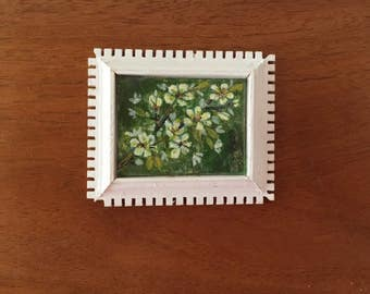 Miniature Original Oil Painting in Frame, Vintage Dollhouse Wall Art