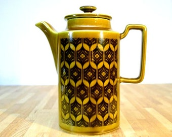 Midcentury Modern Ceramic Coffee Pot Royal Sealy Hornsea Style Design Golden Honey Brown