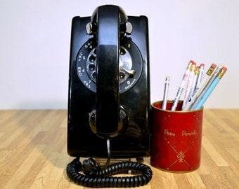 Vintage Working Bell System Made by Western Electric Black Rotary Dial Wall Phone