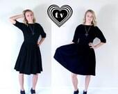 60% Off vtg 50s pleated BLACK full skirt WOOL DRESS Large winter madmen pinup retro dolly bombshell