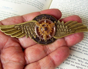 Steampunk Aviator Pin (P505-3), Aviation Medal, Brass Wings and Clockface, Posable Propeller and Gear, Pin with Bail Loop Backing