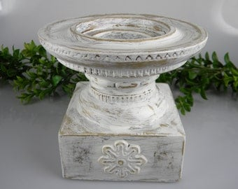 Vintage Pillar Candle Holder - Refinished in white was a gold base - Table Centerpiece - Unique Wedding Reception Table Decor