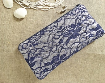 Beach Wedding Clutch Bag Navy Lace Bridesmaid Gold Silver Glitter Purse Mother of Bride Groom Gift