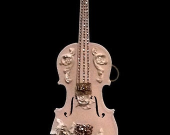 Violin, blush pink, syroco flowers, flourishes, jewels.  One of a kind, artisan, heirloom quality, great for violin virtuoso, so shabby chic