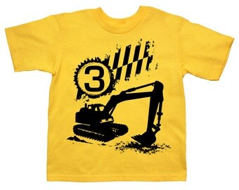 Digger  Birthday  shirt - Any Age and name! Construction Shirt