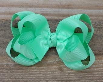 Boutique Hair Bows~Mint Green Hair Bow~Medium Boutique Hair Bow~Solid Color Boutique Bows~Layered Boutique Hair Bow~School Hair Bows