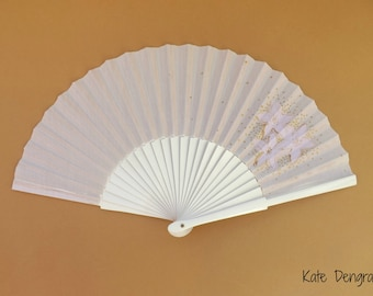 White Pale Lilac and Gold Floral Hand Fan SIZE OPTIONS Folding Wooden Flamenco Handheld Spanish from Spain Hand Painted by Kate Dengra
